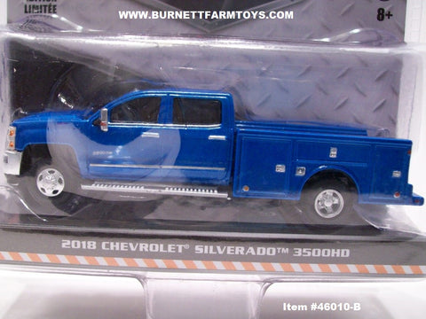 Item #46010-B Blue 2018 Chevrolet Silverado 3500HD 4-Door Dually Service Truck - 1/64 Scale