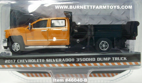 Item #46040-B Orange Black 2017 Chevrolet Silverado 3500HD Dump Truck - 1/64 Scale
