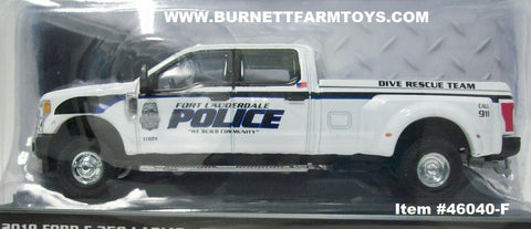 Item #46040-F White 2019 Ford F-350 Lariat Fort Lauderdale Police Department Dive Rescue Team Pickup Truck - 1/64 Scale