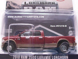 Item #51218-B Burgundy Tan 4-Door 2018 RAM 3500 Laramie Longhorn Pickup Truck - 1/64 Scale
