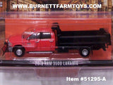 Item #51295-A Red 2018 4-Door RAM 3500 Laramie Dump Truck with Black Bed and Red Black Snow Blade - 1/64 Scale