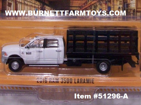 Item #51296-A White 2018 4-Door RAM 3500 Laramie Stake Bed Truck with Black Bed