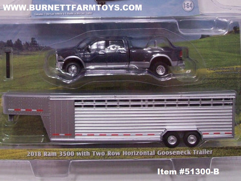 Item #51300-B Gray Silver 2018 RAM 3500 Pickup Truck with Silver Tandem Two Row Horizontal Gooseneck Livestock Trailer