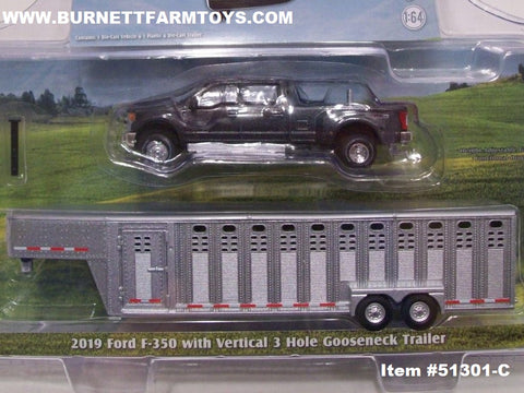 Item #51301-C Gray 2019 Ford F-350 Pickup Truck with Silver Tandem Axle Vertical 3 Hole Livestock Gooseneck Trailer