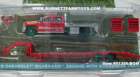 Item #51356-BGM Red 4-door 2018 Chevrolet Silverado 3500HD Pickup Truck with Silver Flatbed and Red Gooseneck Trailer with Ramps and Hitch Green Machine Chaser - 1/64 Scale