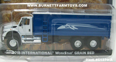 Item #51370-A White 2018 International Work Star Grain Truck with Blue Silver Tarp Bed - 1/64 Scale