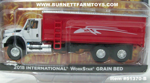 Item #51370-B White 2018 International Work Star Grain Truck with Red Silver Tarp Bed - 1/64 Scale