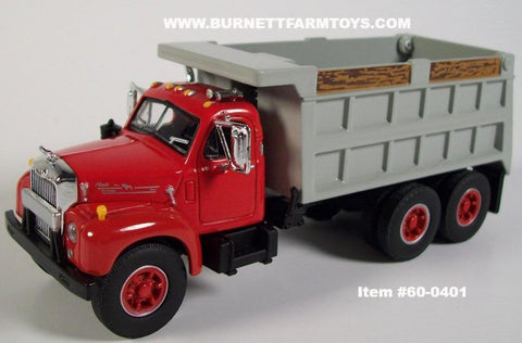 Item #60-0401 Red B-Model Mack Dump Truck with Silver Bed - 1/64 Scale