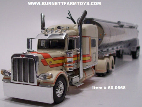 "Item #60-0668 Cream Orange Yellow Long Frame Peterbilt 389 70"" Sleeper with Tandem Axle Walinga Bulk Feed Tanker Trailer"