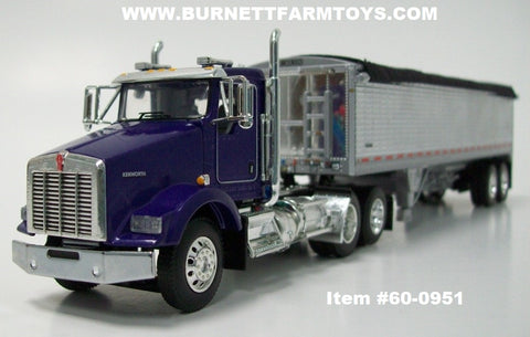 Item #60-0951 Purple Kenworth T800 Day Cab with Chrome Sided Black Tarp Silver Frame Tandem Axle 34-foot Wilson Pacesetter Hopper Bottom Grain Trailer with Chrome End Caps - 1/64 Scale