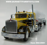 Item #60-0981 Yellow Black Kenworth W900A 36-inch Sleeper with White Tandem Axle Mississippi Propane Tanker Trailer - 1/64 Scale