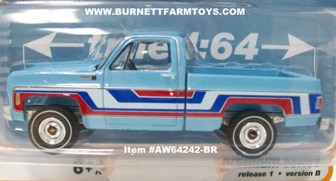 Item #AW64242-BR Blue Red 1976 Chevrolet Bonanza C10 Fleetside Spirit of '76 Edition Pickup Truck - 1/64 Scale