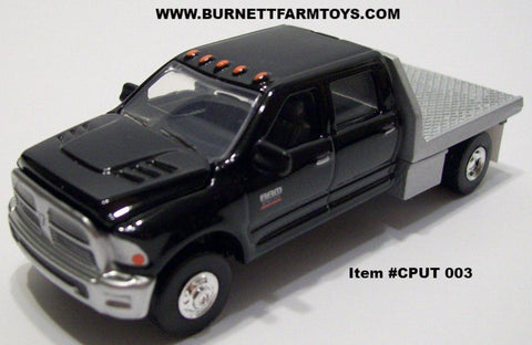 Item #CPUT 003 Black Dodge Ram 4-Door with Chrome Flatbed Underneath Toolboxes Mud Flaps - 1/64 Scale