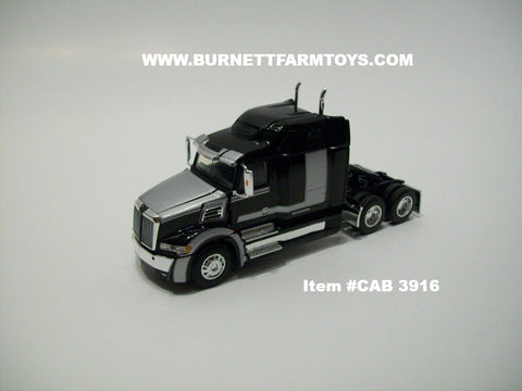 Item #CAB 3916 Black Silver Western Star Mid Roof Sleeper - 1/64 Scale