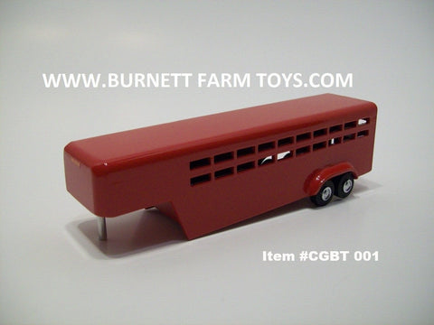 Item #CGBT 001 Red 2-Axle Livestock Gooseneck Trailer with Side Swing Rear Door