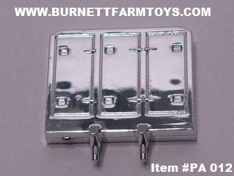 Item #PA 012 Die-Cast Promotions Chrome Plastic Enclosed Headache Rack for Semi Tractor Cab