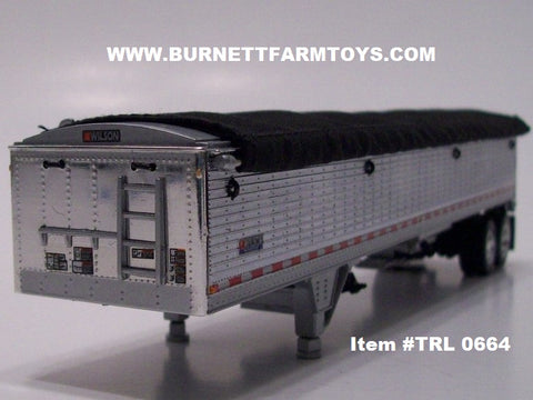 Item #TRL 0664 Chrome Sided Black Tarp Silver Frame Tandem Axle Wilson Pacesetter Hopper Bottom Grain Trailer - 1/64 Scale
