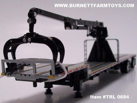 Item #TRL 0694 Black Frame Spread Axle Transcraft Stepdeck Trailer with Black Boom Arm - 1/64 Scale