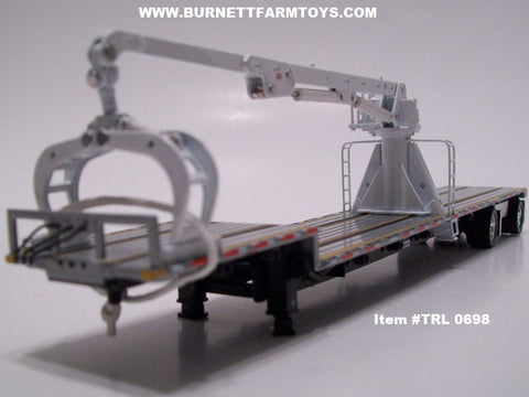 Item #TRL 0698 Black Frame Spread Axle Transcraft Stepdeck Trailer with White Boom Arm - 1/64 Scale