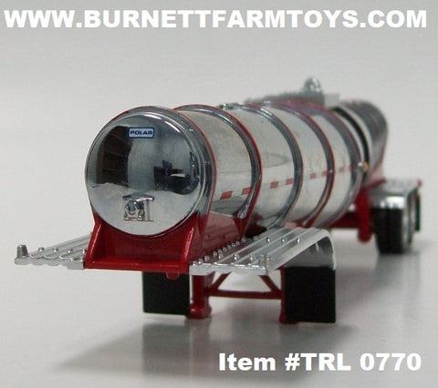 Item #TRL 0770 Chrome Red Banded Tandem Axle Polar Deep Drop Tank Trailer