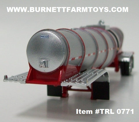 Item #TRL 0771 Silver Red Banded Tandem Axle Polar Deep Drop Tank Trailer