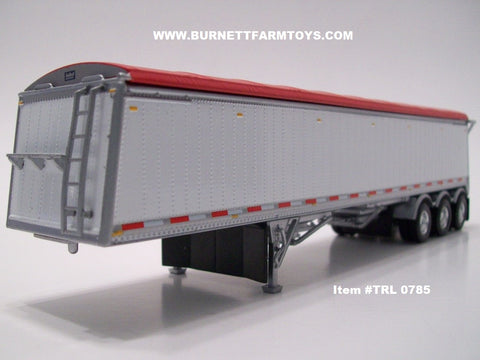 Item #TRL 0785 White Sided Red Tarp Silver Frame Tri-Axle Lode King Distinction Hopper Bottom Grain Trailer