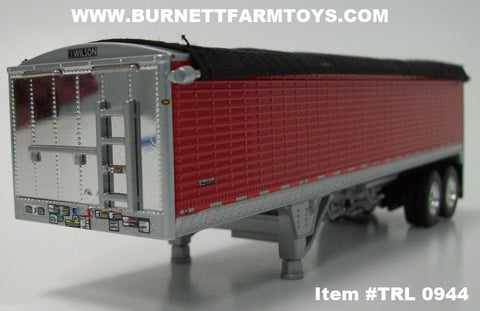 Item #TRL 0944 Red Sided Black Tarp Silver Frame Tandem Axle 34-foot Wilson Pacesetter Hopper Bottom Grain Trailer with Chrome End Caps - 1/64 Scale