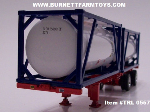 Item #TRL 0557 Red Frame Spread Axle Double Tanker Container Trailer with Blue White Tanker Containers