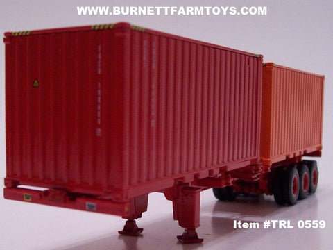 Item #TRL 0559 Red Frame Tri-Axle Double Shipping Container Trailer with Red and Orange Containers - 1/64 Scale