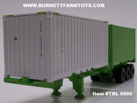 Item #TRL 0560 Lime Green Frame Tri-Axle Double Shipping Container Trailer with White and Lime Containers - 1/64 Scale