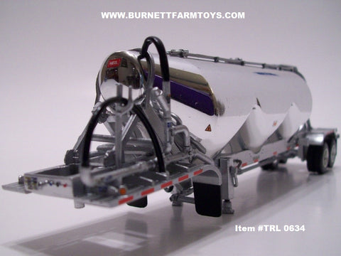 Item #TRL 0634 Chrome Silver Tandem Axle Heil 3-bay Pneumatic Tanker Trailer No VAC