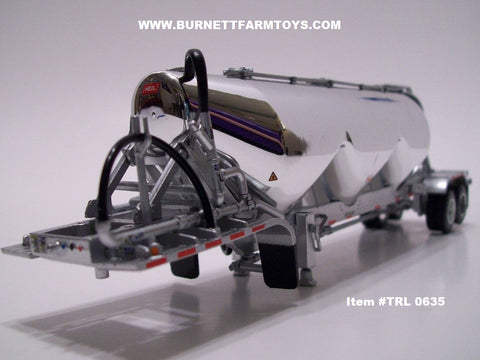 Item #TRL 0635 Chrome Silver Tandem Axle Heil 3-bay Pneumatic Tanker Trailer