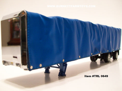 Item #TRL 0649 Blue Spread Axle 52-foot Soft Roll Tarp Utility Flatbed Trailer
