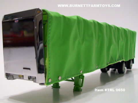 Item #TRL 0650 Lime Green Spread Axle 52-foot Soft Roll Tarp Utility Flatbed Trailer
