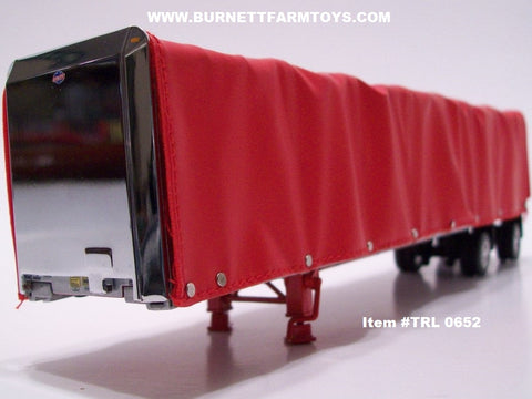 Item #TRL 0652 Red Spread Axle 52-foot Soft Roll Tarp Utility Flatbed Trailer
