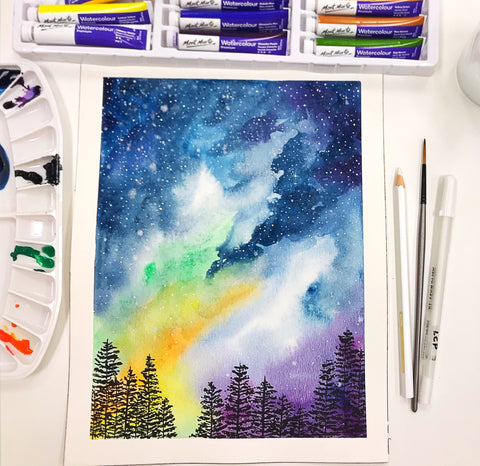 Watercolor workshop Galaxy Starry Night