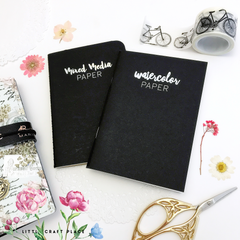 Paint, draw or create anything your artsy heart desires with these Mixed Media notebooks! Featuring a variety of papers for you to create in, these notebooks work great in our Prima Traveler