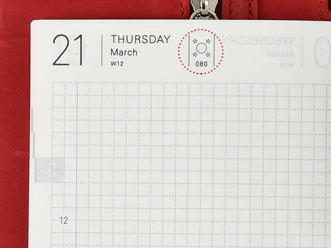 Hobonichi Techo Planner Moon phase and day of the year