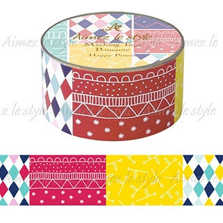 Happy Pattern Japanese Washi Tape Aimez