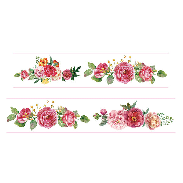 Floral Wonders Washi Tape like roses, peony and dahlia flower.