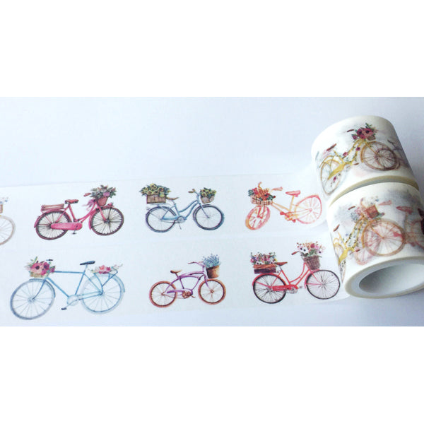 Bicycle with Flower Basket Washi Tape