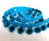 Turquoise Ball Fringe / Pom Pom Fringe. Use these pom pom trim in your planner spread, gift wrapping, tutu dress, advent calendar, hat making, curtains, baby blanket, pillows and all kind of craft projects.