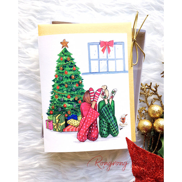 Christmas is Better Together! Send a chic season's greeting with this festive card from Rongrong DeVoe! Each card comes with a coordinating gold envelope.