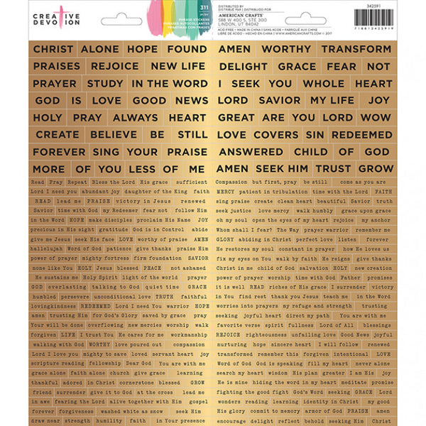 "Creative Devotion Scripture Words Cardstock Stickers 6""X12"" 2/Pkg"