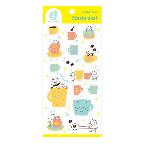 Mizutama Washi Sticker Masking Seal Panda Coffee