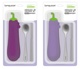 Eggplant Stainless Steel Chopsticks, Spoon and Holder Set