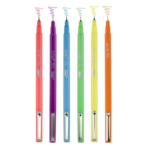 Le Pen Fine Point Neon Set 6/Pkg Uchida