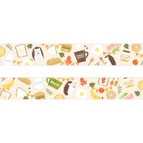 Hedgehog Foodie Moriyue Washi Tape • Japanese Masking Tape