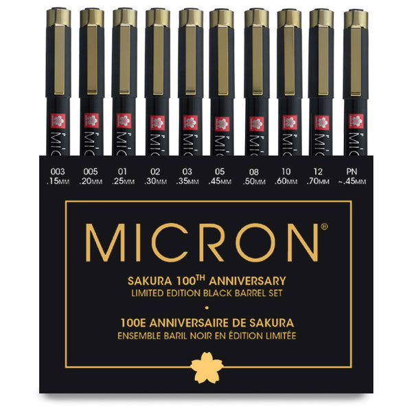 Pigma Micron Pens Assorted 10/Pkg Black Ink 100th Anniversary Limited Edition