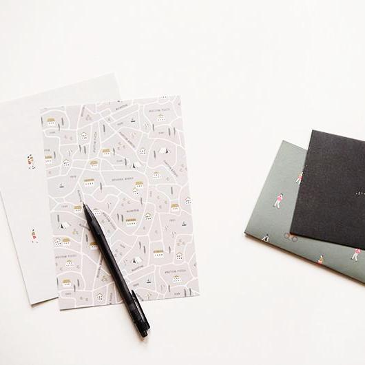 Park Map Letter Set Writing Papers & Envelopes